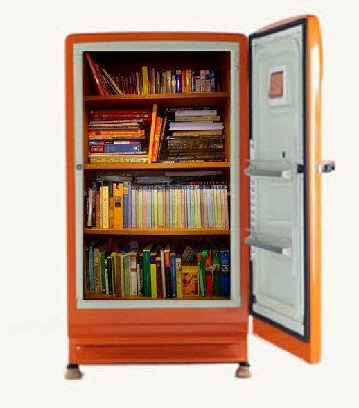 bookcase made from fridge